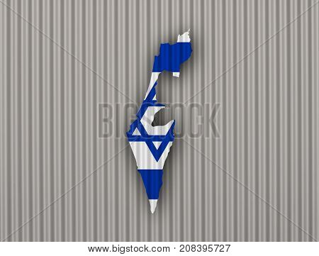 Map And Flag Of Israel On Corrugated Iron