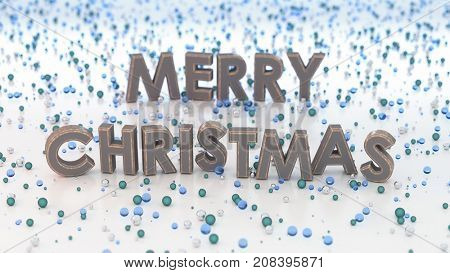 merry Christmas greeting card, 3d illustration