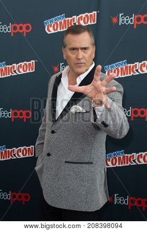 New York, NY - October 7, 2017:  Bruce Campbell of Starz's Ash vs. Evil Dead arrives at Comic Con 2017 in New York, NY.