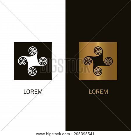 Abstract spiral logo design. Windmill icon isolated vector concept.