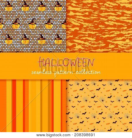 Festive seamless pattern collection. Set of vector Halloween illustration. Stripes, circles, stains, blots, scribble texture, holiday symbols and characters jack o lantern, witch hat, bat, spider web, corn candy Usable for design, packaging, wallpaper, te