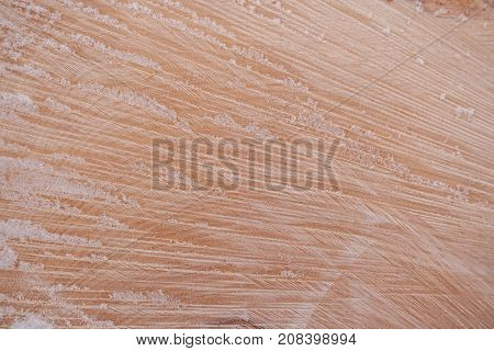 Wooden Texture. Close-up Fiber Of Freshly Sawn Wood Covered With Fresh Snow And Copy Space.