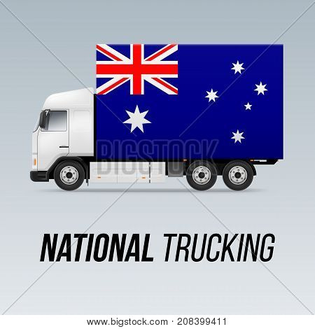 Symbol of National Delivery Truck with Flag of Australia. National Trucking Icon and Australian flag