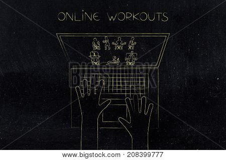 Laptop User With Fitness Exercises On The Screen