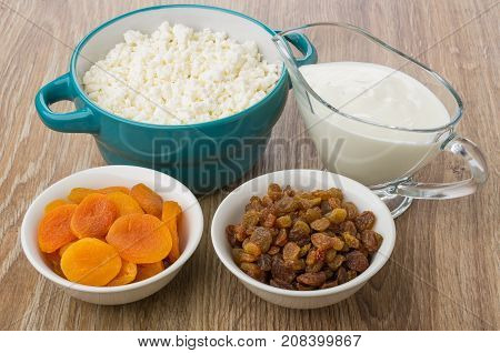 Bowl With Cottage Cheese, Gravy Boat With Yogurt, Apricots, Raisins