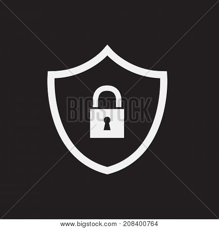 Security abstract icon isolated on black background. Vector stock.
