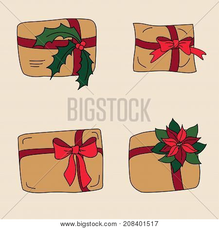 Gift box or mail parcels, post delivery wrapped with paper, decorated with bows, poinsettia xmas star flower and holly berries. Craft present for winter holidays