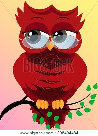 Cute Beautiful Flirtatious Red Owl On A Branch With A Rose On A Pussy And Glasses On The Nose