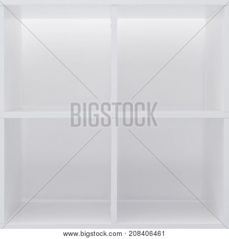 Empty office or bookcase library shelves with blank copy space for design mock up or product placement