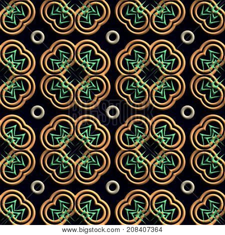 3D render of plastic background tile with embossed abstract stylized clover leaf ornament