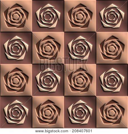 3D render of plastic background tile with embossed alternating rose flowers ornament