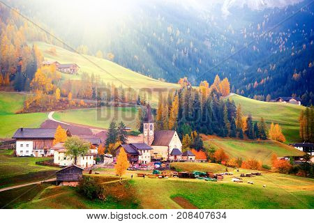 Amazing autumn scenery in Santa Maddalena village with church colorful trees and meadows under rising sun rays. Dolomite Alps South Tyrol Italy.