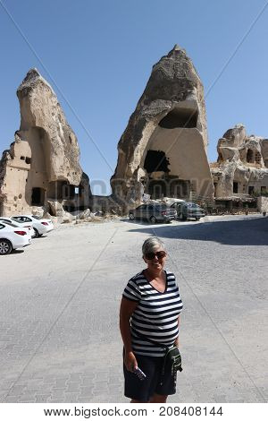 21ST JULY 2017,CAPPADOCIA,GOREME,TURKEY:The Fairy chimneys ,typical geologic formations of Cappadocia excavated by people to be used as houses and churches ,goreme, turkey, 21st july 2017