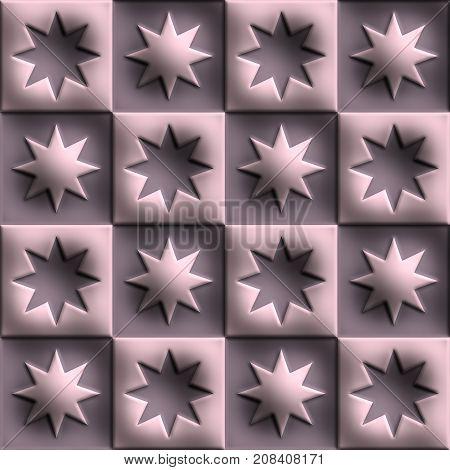 3D render of plastic background tile with embossed alternating star ornament