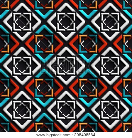3D render of plastic background tile with embossed abstract square ornament