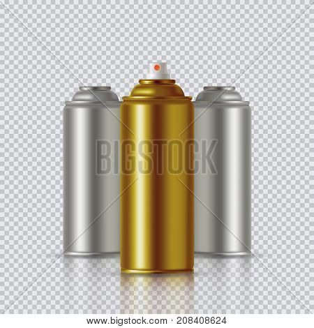 Golden Paint Aerosol Spray Metal 3D Bottle Can, Graffiti, Deodorant, Household Chemicals, Poison. Front View. Illustration Isolated On White Background. Mock Up Template For Your Design. Vector EPS10