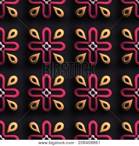 3D render of plastic background tile with embossed abstract ancient ornament