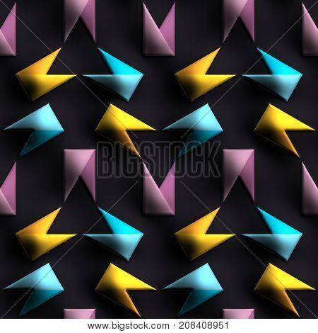 3D render of plastic background tile with embossed abstract origami flags ornament