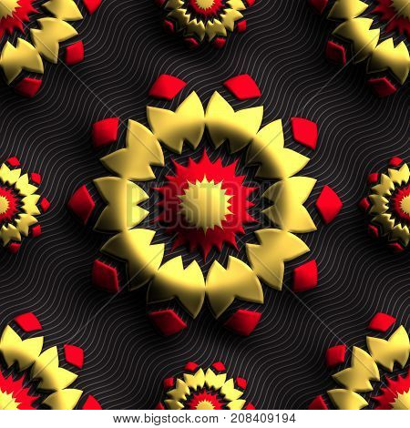 3D render of plastic background tile with embossed abstract russian ornament