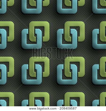 3D render of plastic background tile with embossed square ornament