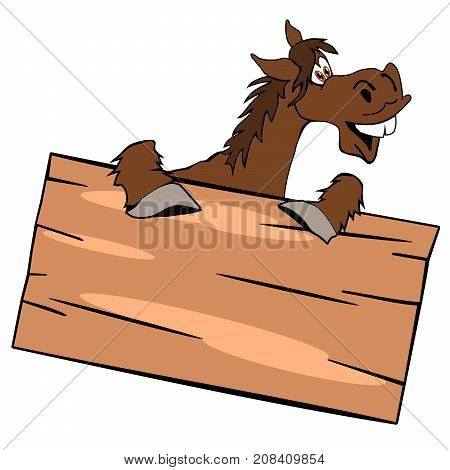 Happy cute horse with a wooden sign on a white background vector illustration