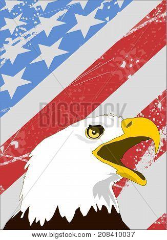 Bald Eagle on American flag Grunge style vector illustration