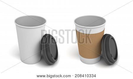 3d rendering of two white paper coffee cups with open black lids, one of the cups with a brown holding stripe. Hot drinks. Disposable cups. Takeaway coffee.