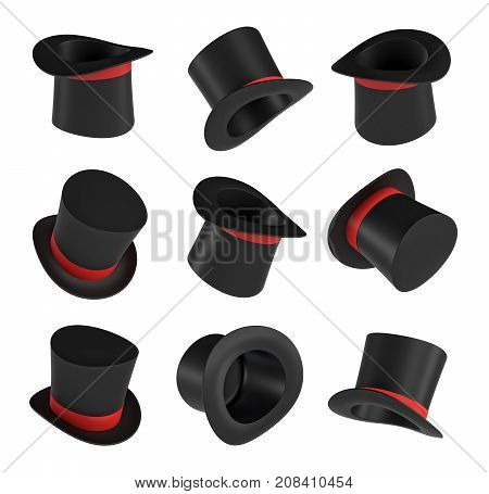 3d rendering of a set of several black magician's hats with one red stripe in different views. Wizard's hat. Magicians and artists. Illusionist's show.