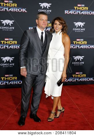 Luciana Barroso and Matt Damon at the World premiere of 'Thor: Ragnarok' held at the El Capitan Theatre in Hollywood, USA on October 10, 2017.