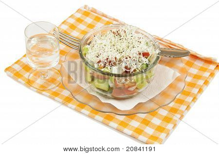 Shopska salad and ouzo