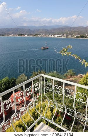 28TH JULY 2017, FETHIYE, TURKEY: The scenic view looking towards the sea in fethiye,turkey from a hotel balcony 28th july 2017