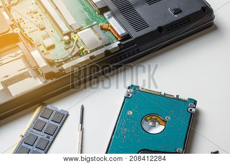 Cyber Data Attack Concept : Broken Laptop ,crash Motherboard ,memory Hard Disk Electronic Hardware P