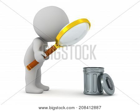 3D character looking with a magnifying glass at a small trash can. Isolated on white background.