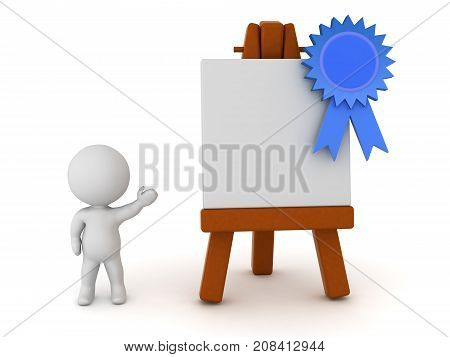 3D Character showing a large easel with a blue ribbon. Isolated on white background.