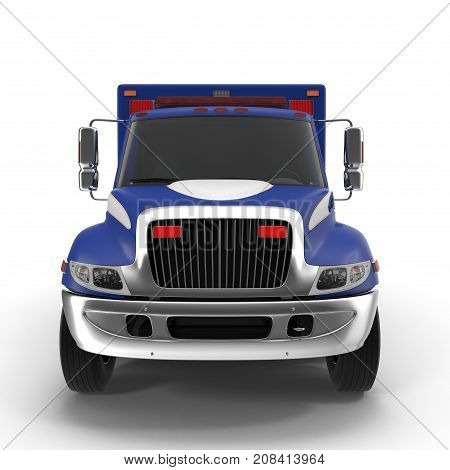 Paramedic Van isolated on white Background. Front view. 3D Illustration