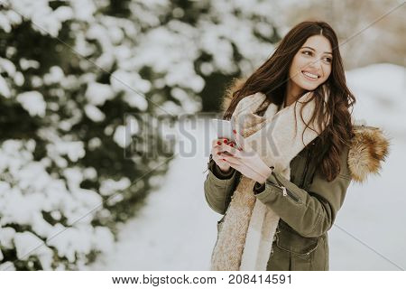 Smiling Woman Using Phone In Park At Cold Winter Day