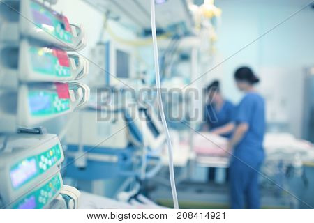 Working nurses in the ICU. Treatment at modern hospital