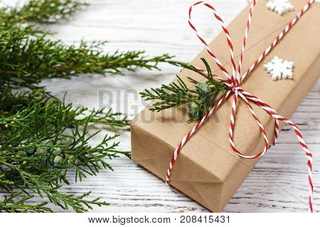Christmas or New Year background plain composition made of Xmas decorations and fir branches flat lay.