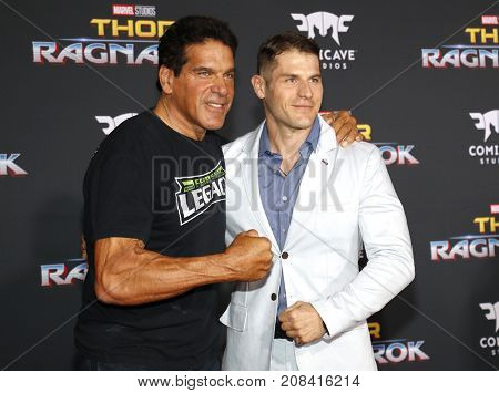 Lou Ferrigno and Louis Ferrigno Jr. at the World premiere of 'Thor: Ragnarok' held at the El Capitan Theatre in Hollywood, USA on October 10, 2017.
