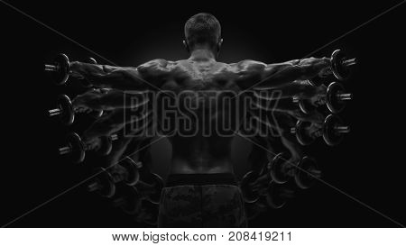 Multiexpose Black And White Shot Dumbbell Lateral Raise Workout Bodybuilder Turning Back Raising Han