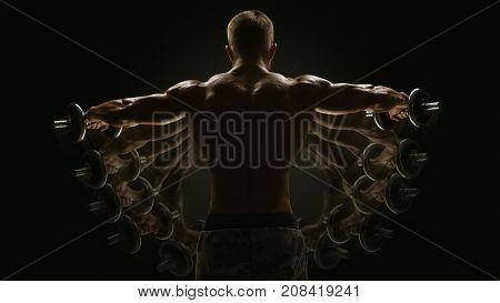 Dumbbell Lateral Raise Concept Bodybuilder Turning Back Raising Hands Pumping Up Shoulders Muscle Ex