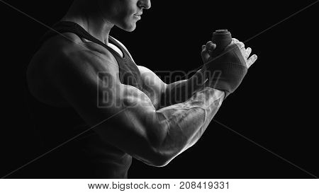 Black And White Photo Of Strong Hands And Fist, Ready For Training And Active Exercise Strong Man Wr