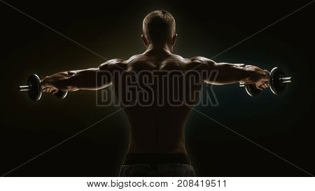 Dumbbell Lateral Raise Bodybuilder Turning Back Raising Hands Pumping Up Shoulders Muscle Exercise P