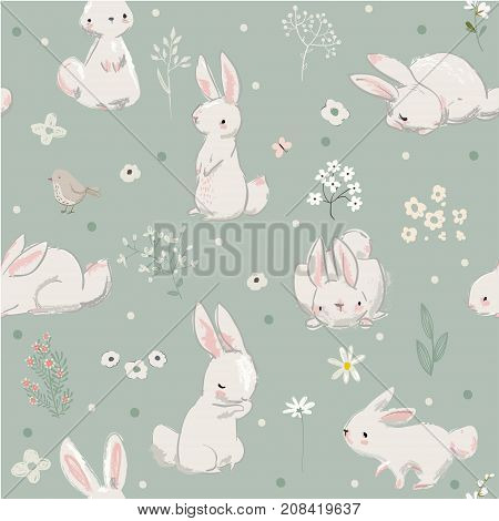 vector seamless pattern with cute little hares