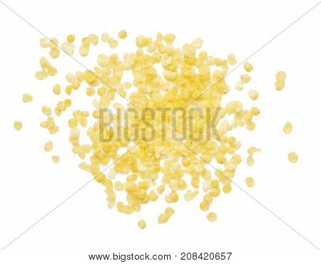 Millet flakes isolated on white bacground. Top view.