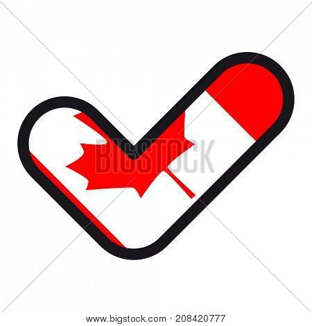 Flag of Canada in the shape of check mark, sign approval, symbol of elections, voting.