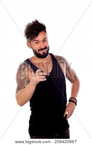 Handsome tatted man is advising you isolated on a white background