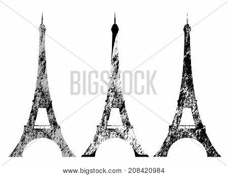 eiffel tower grunge style silhouette - tourism and sightseeing in france vector design set