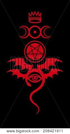 EVIL EYE (The Greater Malefic). The Diabolic eerie damn. Evil in its pure form. Emblem of Witchcraft and Sign of Necromancy. Mystical symbol.