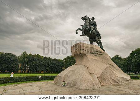 ST PETERSBURG, RUSSIA - SEPTEMBER 12: Bronze Horseman statue on September 12, 2017 in St Petersburg, Russia. The statue was completed in 1782.